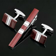 TZ-031 Stainless Steel Cuff links + Tie Clasp Clip Bar set Gift box Free postage