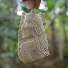"""Hand Carved Indian 3.3"""" Buffalo Bone Carving Pendant 925 Silver BP 2300"""