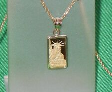 PURE 9999 GOLD ~1~GRAM ~ STATUE of  LIBERTY  BAR ~ 14-KT  GOLD  PENDANT ~ $96.88