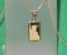 PURE 9999 GOLD ~1~GRAM ~ STATUE of  LIBERTY  BAR ~ 14-KT  GOLD  PENDANT ~ $99.88