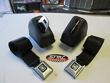 68 69 70 71 72 CHEVELLE NEW BLACK DELUXE BUCKET SEAT BELTS / RETRACTORS
