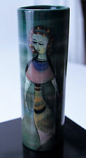 Polia Pillin Jewel Toned Cylindrical Vase With Young Woman, Horse and Sun