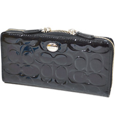 NWT Coach Peyton SG Embossed Patent Leather Accordion Zip Wallet 50538 B4/Black