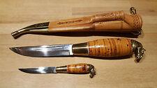 Edles Jagdmesser aus Finnland, feine Handarbeit, 2 Messer in eine Lederscheide