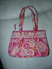 Vera Bradley red, pink, gold medium cotton bag purse lots of pockets colorful