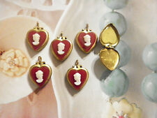 10 PC LOT Brass RED Heart Lockets w/ White Victorian Lady Cameos