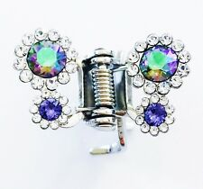 USA HAiR CLAW using Swarovski Crystal Hair Clip Pin Party Butterfly Silver AB