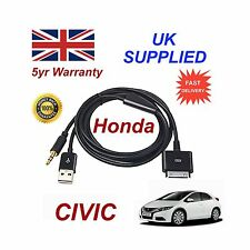 Genuine HONDA CIVIC iPhone 3GS 4 4S iPod USB & Câble Aux 3,5 mm Noir de remplacement