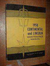 1958 LINCOLN & CONTINENTAL SHOP MANUAL ORIGINAL SERVICE BOOK OEM REPAIR RARE!!!