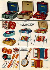 1957 PAPER AD 2 PG Carron Toy Play Record Player Phonograph Mickey Mouse Emenee