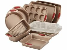 Rachael Ray Cucina Nonstick Bakeware 10-Piece Set in Latte Brown with Handle Gri