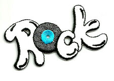 """50'S """"ROCK"""" TEXT IRON ON APPLIQUE PATCH"""