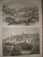 Town and Fort of Luxembourg 1867 print ref Y4