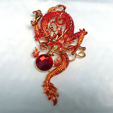 Butler and Wilson Red Orange Entwined Chinese Dragon Brooch NEW