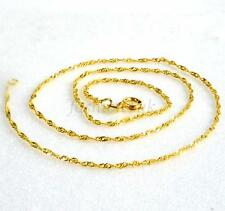 Women 45cm Necklac 24K Yellow Gold Plated Spring Ring 1.5mm Fish Bone Chain New