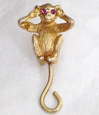 "Vintage NAPIER ""Hear No Evil"" Goldtone MONKEY Scatter Pin RUBY EYES Moving Tail"