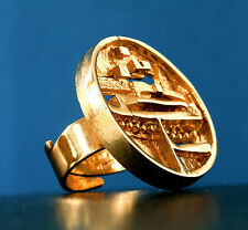 "VTG,MODERNIST -JORMA LAINE- "" VIKING SHIP "" GOLD SHINING BRONZE RING, Finland"
