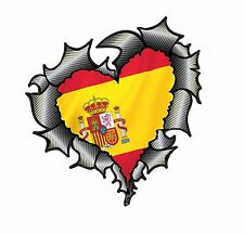 HEART Shape Carbon Fibre Fiber Ripped Metal & Spain Spanish Flag car sticker