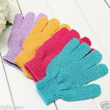 2 Pair Exfoliating Bath Gloves Shower Face Skin Body Wash Massage Loofah Scrub