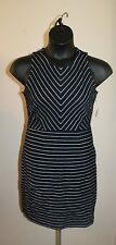 Old Navy Women's Navy Blue & White Striped Knit Sleeveless Dress Size L