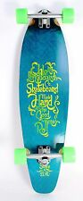 "36"" Blue Kicktail Longboard Skateboard Complete Silver Trucks Neon Green Wheels"