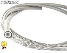 "AN -8 (JIC-8 7/16"" I.D) Stainless Braided Clear PVC Coated Teflon PTFE Hose 1m"