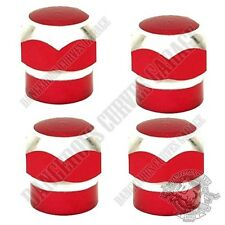 4 Red & Silver Contrast Cut Hex Billet Aluminum Tire Valve Stem Dust Caps