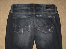 Bullhead Size 0 Short Bootcut Destroyed Stretch Dark Blue Stretch Denim Womens
