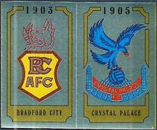 PANINI FOOTBALL 88-#413-A-B-BRADFORD CITY / CRYSTAL PALACE TEAM BADGES-FOILS