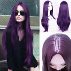 Fashion Sexy Long Womens Black Purple Straight Wig Full Wigs Cosplay Party Hair