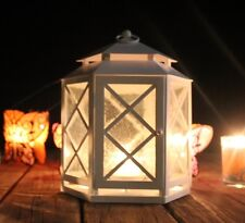 PartyLite WHITE LATTICE MEDIUM TABLE TOP HANGING OR WALL SCONCE LANTERN NIB
