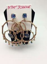 Betsey Johnson Jewelry SKULLS AND ROSES Gypsy Hoop Earrings $65
