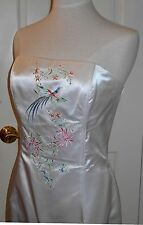 Jessica McClintock Gunne Sax Embroidered Bird Wedding Prom Cocktail Dress Gown~M
