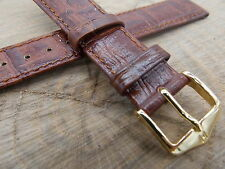 Brown Leather 18mm Vintage Watch Band Hirsch Duke Mens Water Resistant NOS