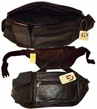 Leather waist pouch large waist bag leather bag Fanny pack sports bag 5 pockets*