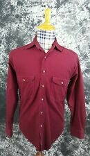 Mens S L.L. Bean solid dark red button front shirt small