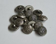 Pack of 10 16mm Antique Silver Civil War design Shank/loop Button   0024