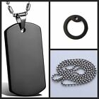 HOT Men's Silver/Black Plain Dog Tag Stainless Steel Pendant Free Chain Necklace