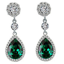 Luxury Diamond Shine Rhinestone Emerald Green Long Drop Stud Earrings E867