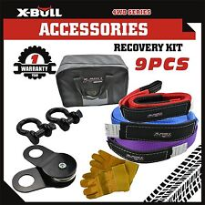 X-BULL 9PCS Winch Recovery Kit Snatch Straps Bow Shackles Pulley Block 4WD