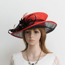 New Woman Church Derby Wedding Cocktail Party Sinamay Dress Hat  159Black&Red