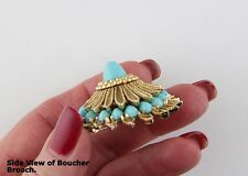 Unusual Boucher 3-Dimensional Textured Gold Tone Brooch - Turquoise Cabochons