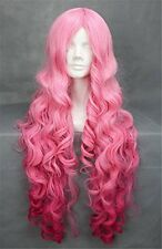 Kalyss womens long pink curly cosplay wigs