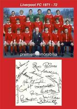 LIVERPOOL FC 1971-1972 BILL SHANKLY EMLYN HUGHES RAY CLEMENCE SIGNED (PRINTED)