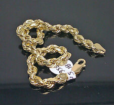 10K Yellow Gold Men's Rope Bracelet 5mm 9 Inches Long #A4B1