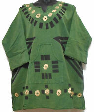 Mud Cloth Men's African Handcrafted Dashiki Shirt Pine Khaki Organic TopOne Size