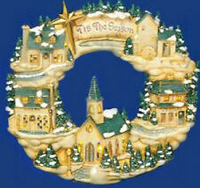 "Ceramic Bisque Ready to Paint Christmas Wreath ""The Village"""