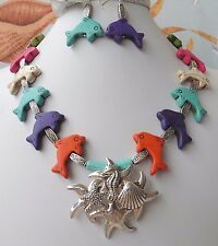Multi-Color Carved Dolphins Vintage Pendant Necklace Earrings One of a Kind