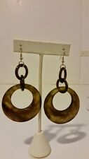 Gorgeous 100% buffalo horn custom green and black round lacquered earrings