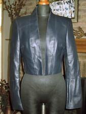 DESIGNER AKRIS BLUE ULTRA SOFT LAMB LEATHER CROPPED BLAZER JACKET  4